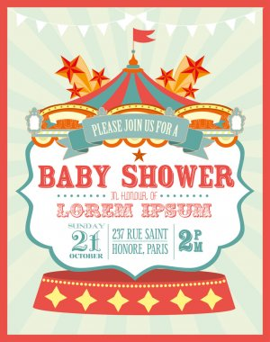 Carnival baby shower invitation card
