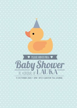 Rubber ducky baby shower invitation card template boy