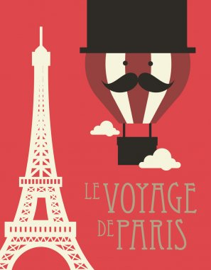 Hot air balloon and paris eiffel tower