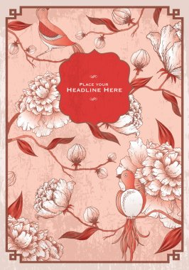 Vintage chinese peony flower background