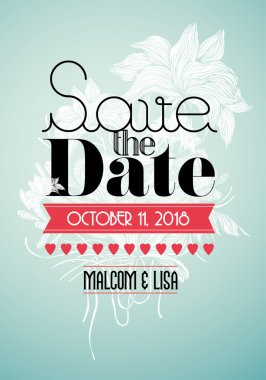 Save the date invitation card template illustration clip art vector