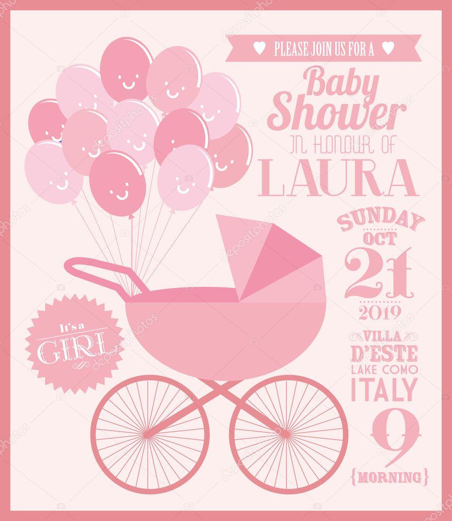 Baby girl baby shower invitation card stock vector nglyeyee baby girl baby shower invitation card template vector illustration vector by nglyeyee stopboris Choice Image