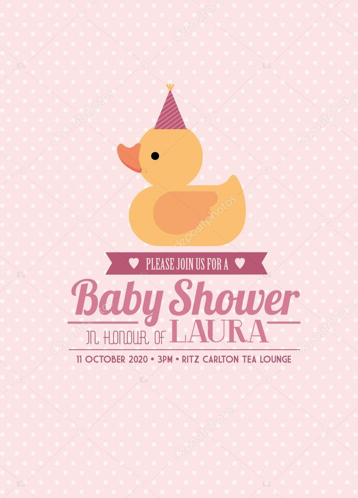 Rubber ducky baby shower invitation card template girl — Stock ...