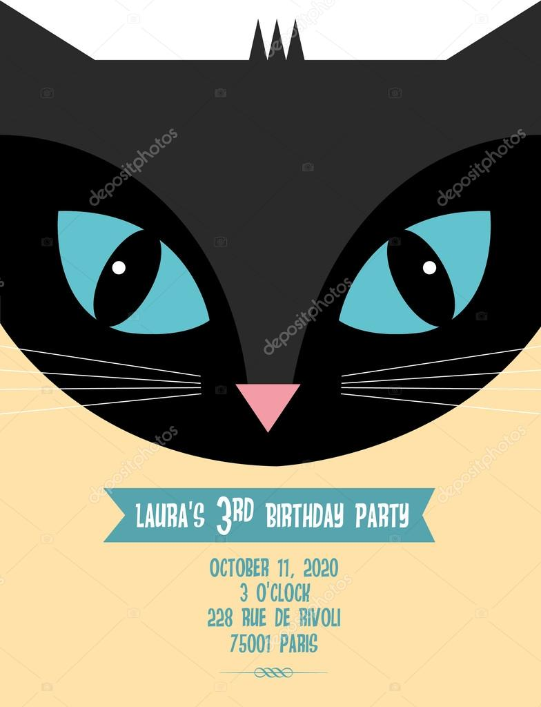 invitation anniversaire chat noir image vectorielle nglyeyee 44894875. Black Bedroom Furniture Sets. Home Design Ideas