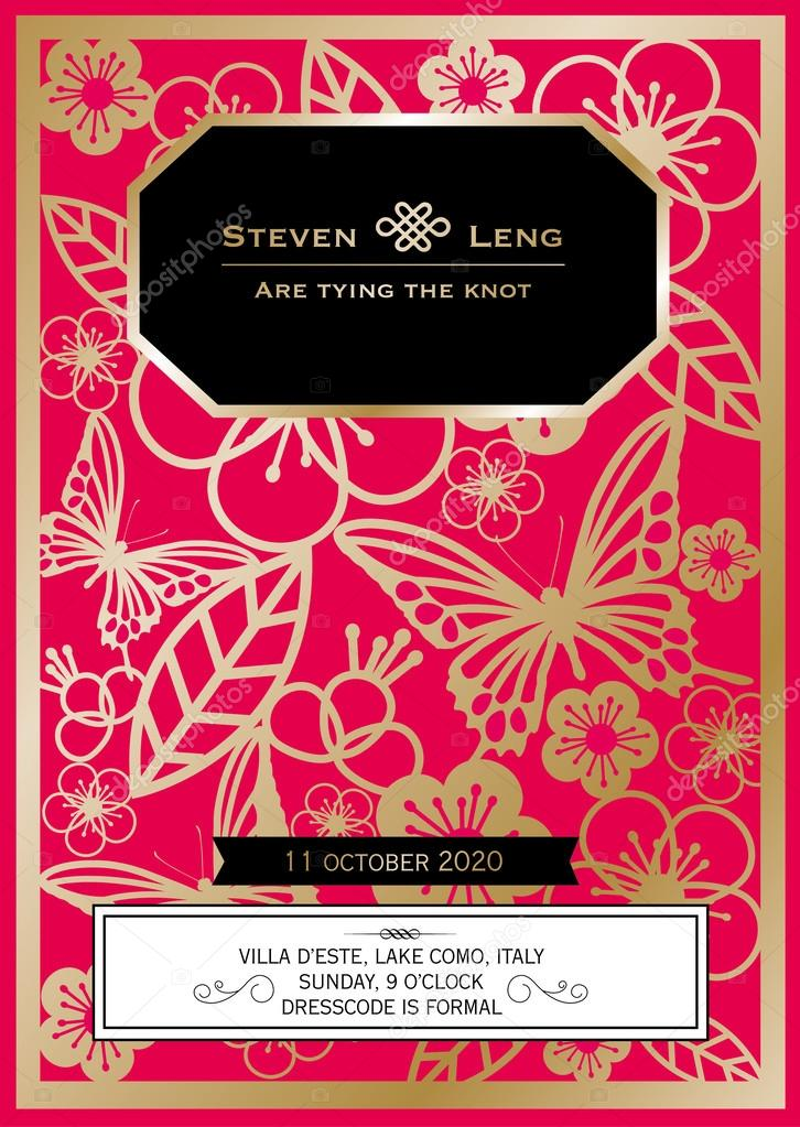 Cherry blossom Chinese wedding invitation card — Stock Vector ...