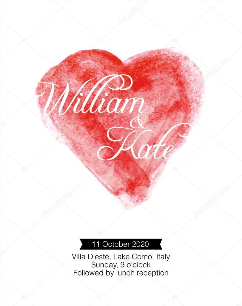 Watercolor heart wedding invitation card — Stock Vector © nglyeyee ...