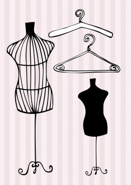 Mannequin and clothes hangers
