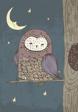 Owl with moon and stars