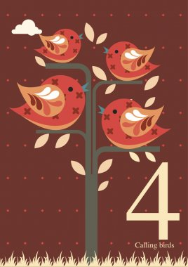 Fourth day of Christmas - Four calling birds