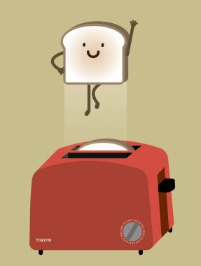 Bread toaster with flying bread