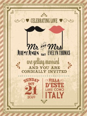 Vintage wedding invitation card template illustration clip art vector