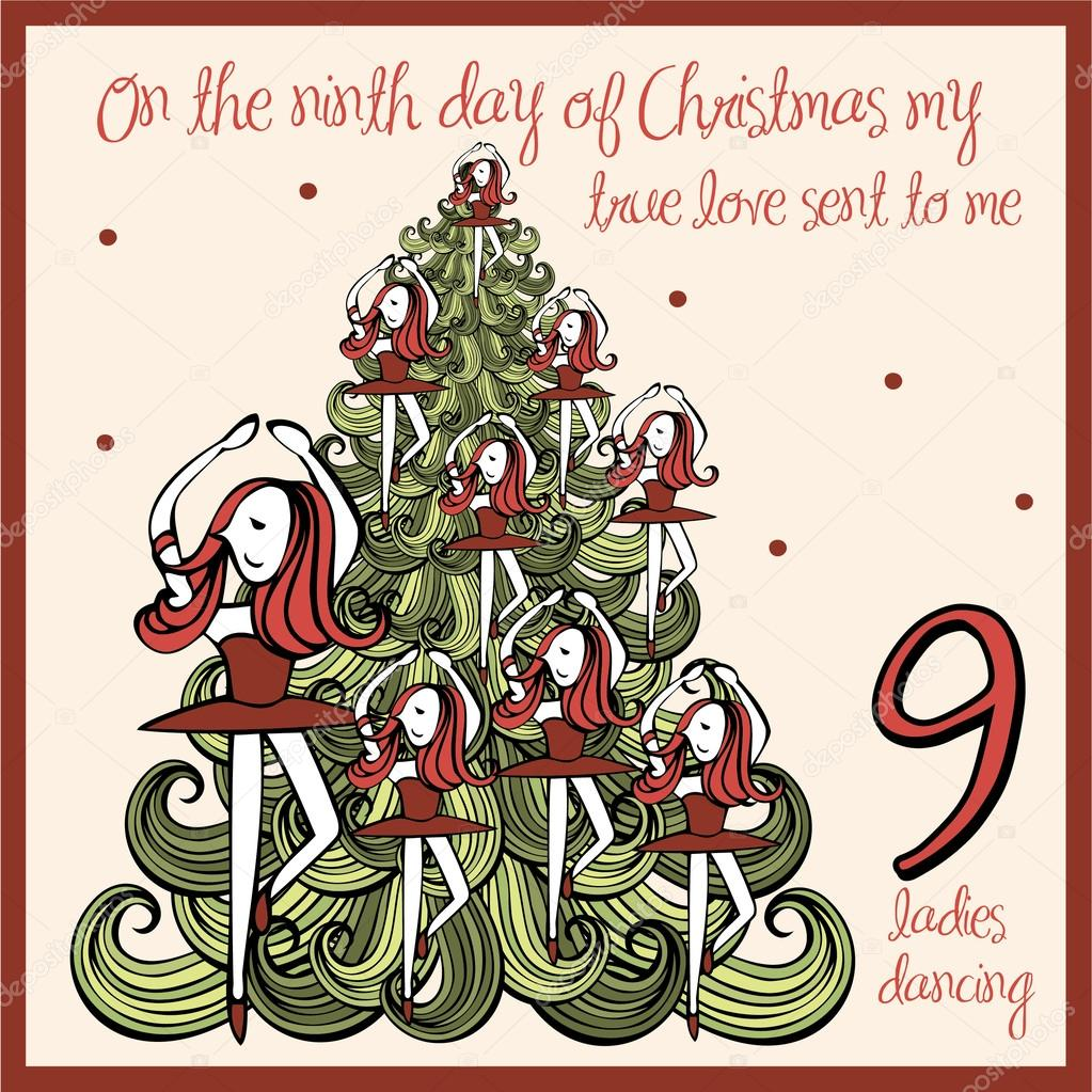 Ninth Day Of Christmas.Ninth Day Of Christmas Stock Vector C Nglyeyee 45228711