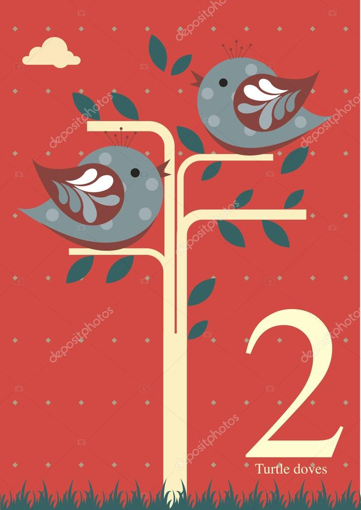 Second Day Of Christmas.Second Day Of Christmas Two Turtle Doves Stock Vector