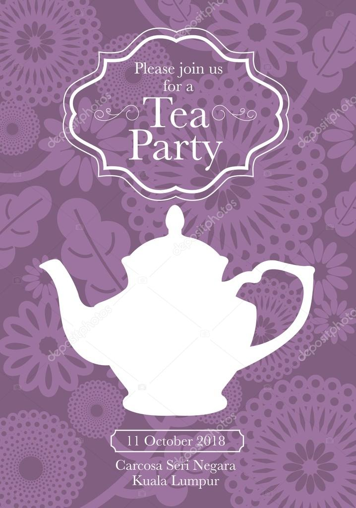 Tea party invitation card — Stock Vector © nglyeyee #45229457