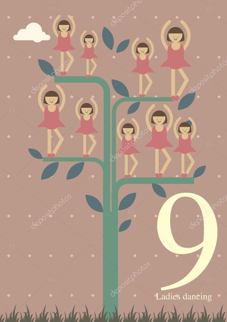 Ninth Day Of Christmas.Ninth Day Of Christmas Stock Vector C Nglyeyee 45230043