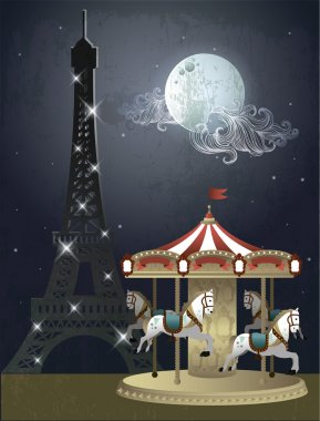 Paris eiffel tower light blinking with carousel and blue moon clip art vector