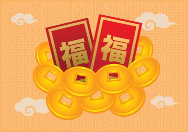 Chinese New Year Red Packets and Gold Coin
