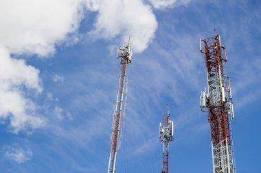 Radio tower in blue sky