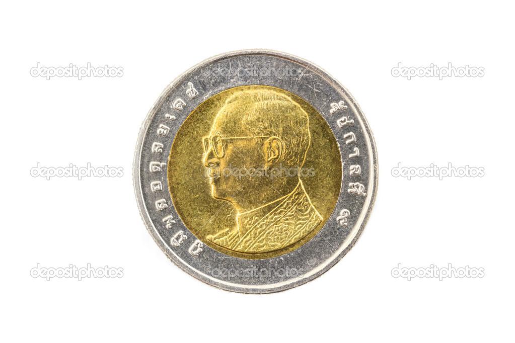 Thai Zehn Baht Münze Stockfoto Ingkadjiw 49731087