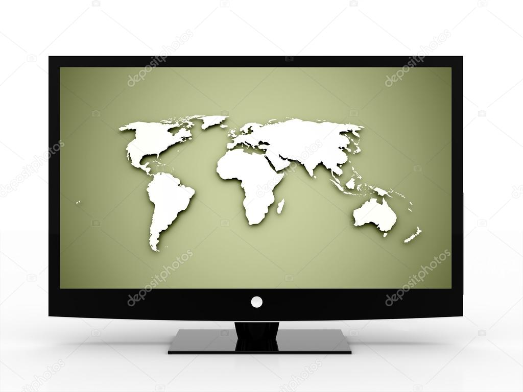 Black monitor with world map fotos de stock pupes 46127285 black monitor with world map fotos de stock gumiabroncs Image collections