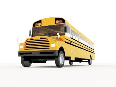 Yellow school bus rendered