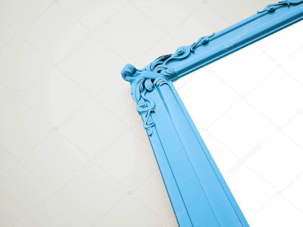 Blue mirror frame vintage concept rendered — Photo by pupes