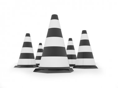 Black and white road cones