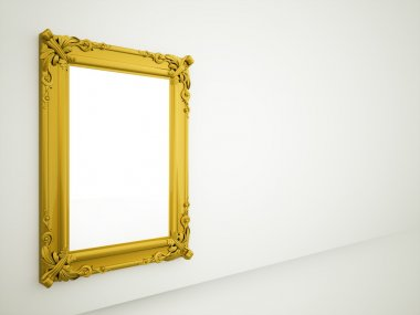 Golden vintage mirror on the wall