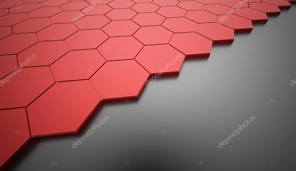 Red hexagonal abstract background