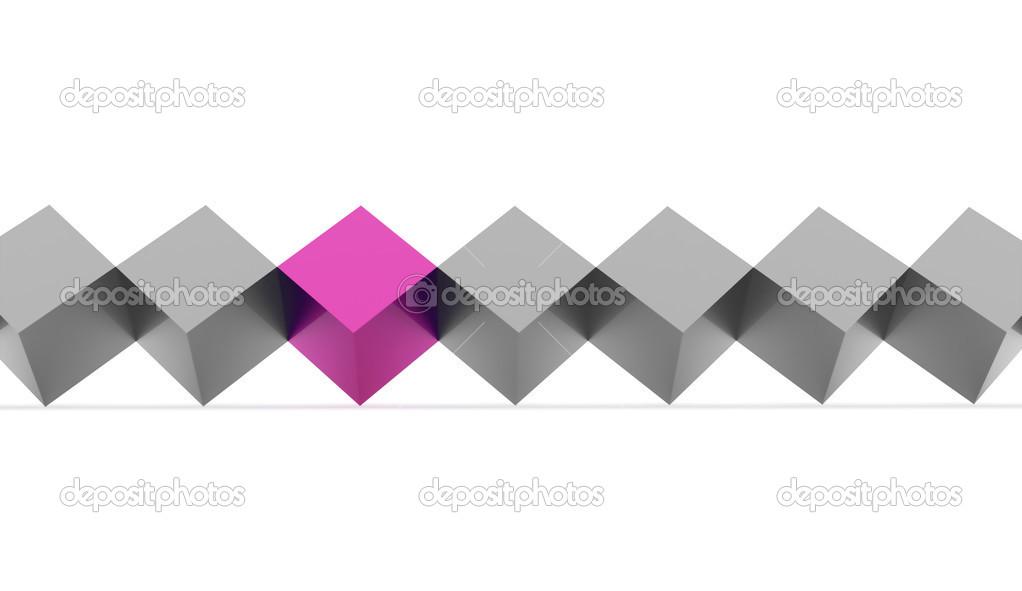 Resumen cubos línea concepto uno es de color rosa — Foto de stock ...