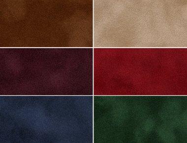 Set of multicolored velvet texture.