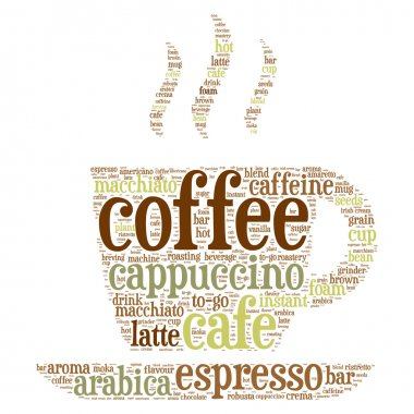 Coffee cup word cloud concept in vector