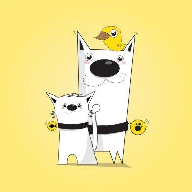 Dog, cat, bird clip art vector