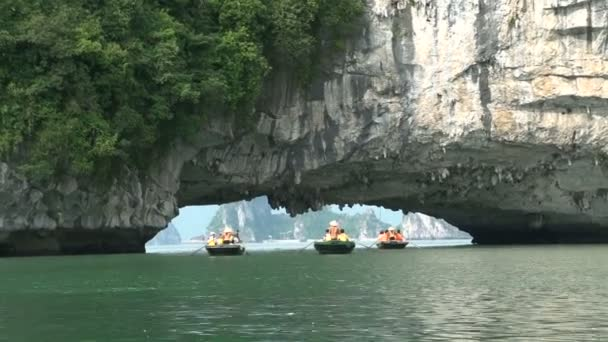 Tourists in a boat trip in Ha Long Bay