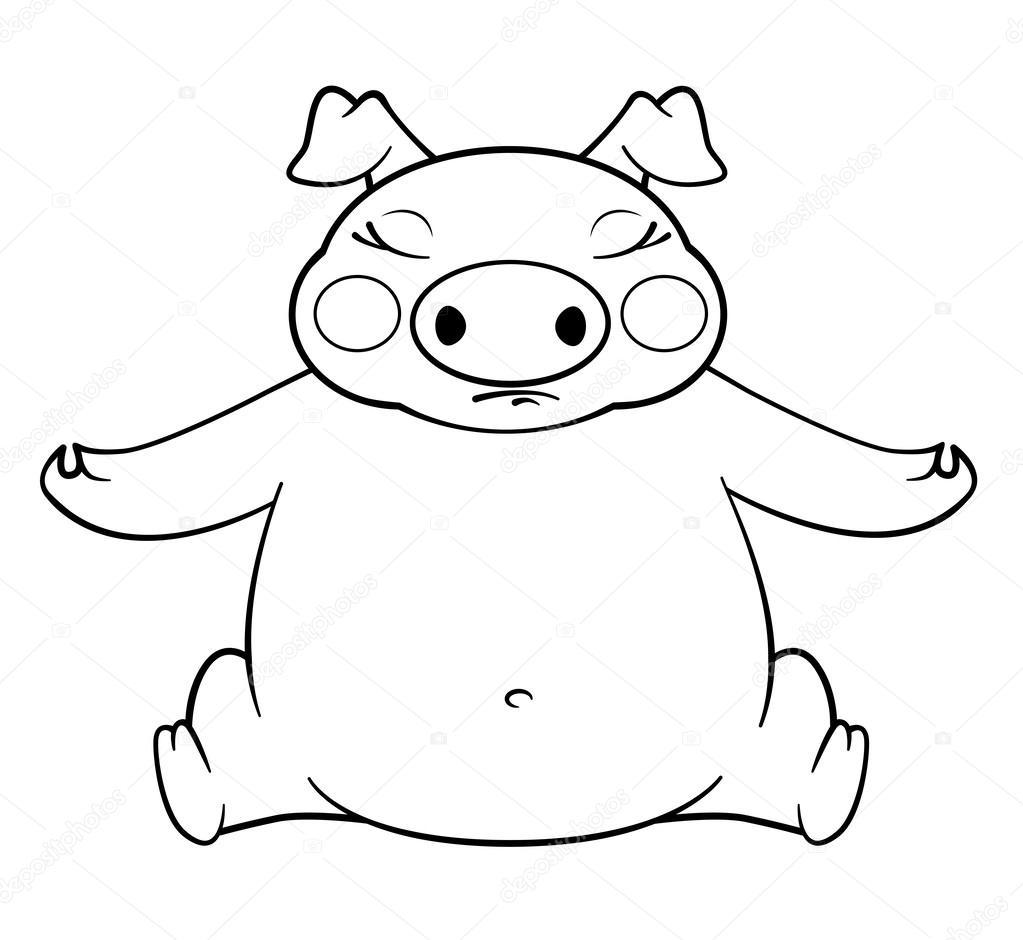 cerdo de yoga de libro para colorear — Archivo Imágenes Vectoriales ...