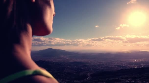 Woman Reaching The Top od the mountain