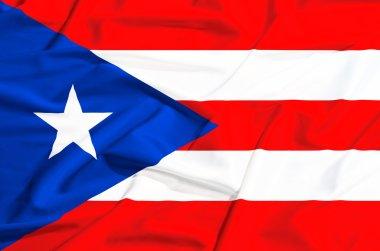 Porto Rico flag on a silk drape waving