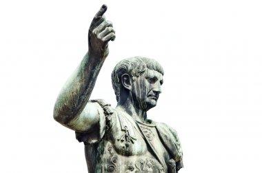 Roman emperor bronze statue isolated on whit