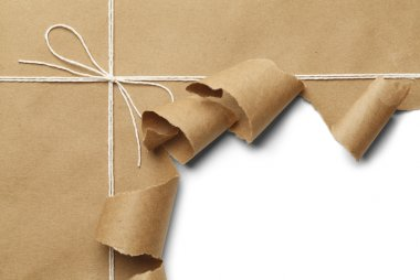 Brown Paper Parcel with Rope Torn Open on White Background. stock vector