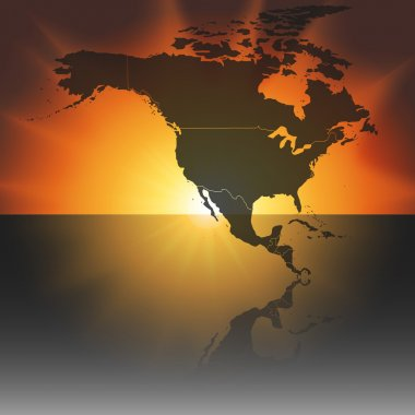 North america map on the sunset