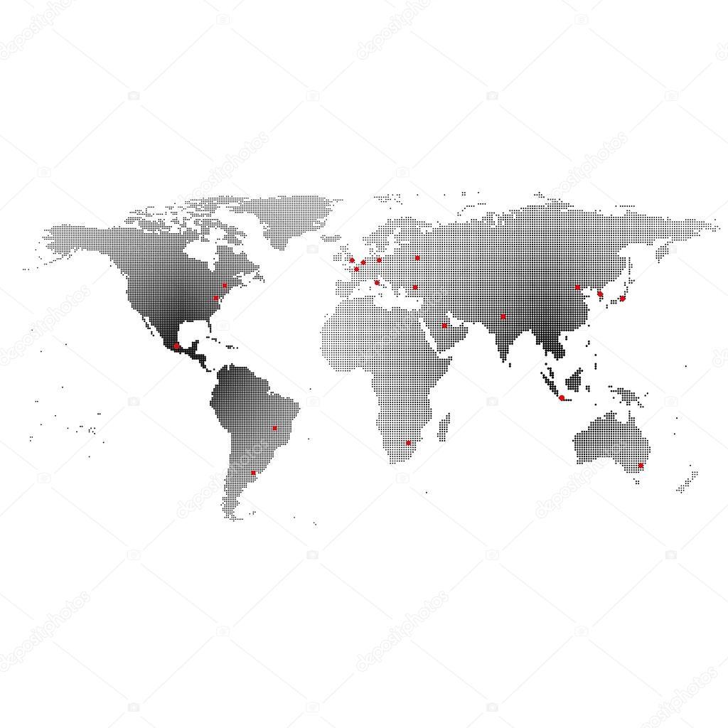 Cool Weltkarte Mit Städten Referenz Von Schwarze Städten , Dunkel Entwerfen-vektor-tration — Vektor