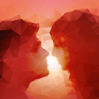 Loving couple kissing at sunset, beautiful vector background. clip art vector