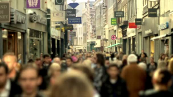 Slow motion crowd in shopping street