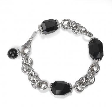 Black Faceted Onyx Bead Chain Link Bracelet