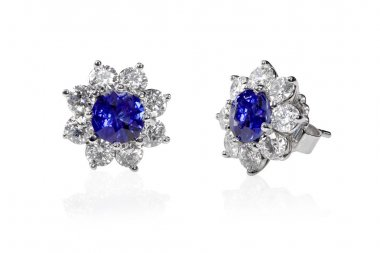 Blue Gemstone and diamond earrings