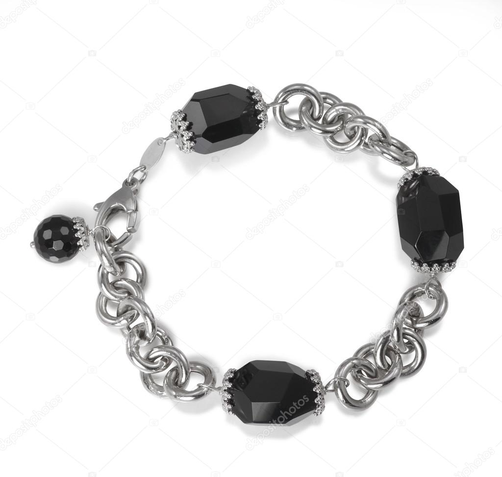 Black Faceted Onyx Bead Chain Link Bracelet