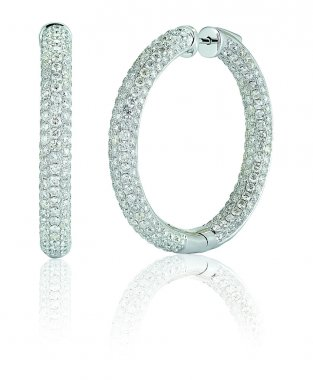 Large Diamond Pave hoop earrings