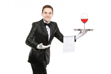 Waiter holding tray with glass of wine