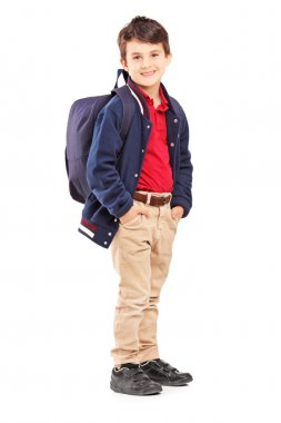 School boy with backpack