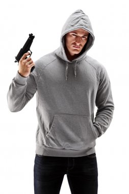 Male holding a gun